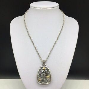 Brighton Silver Gold Reversible Swirl Necklace